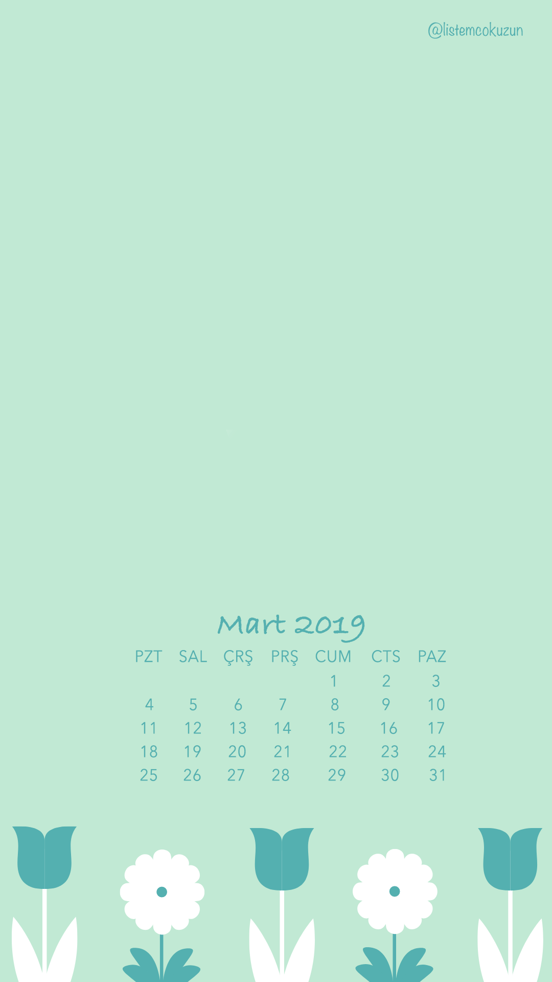 mart 2019 takvim mobil